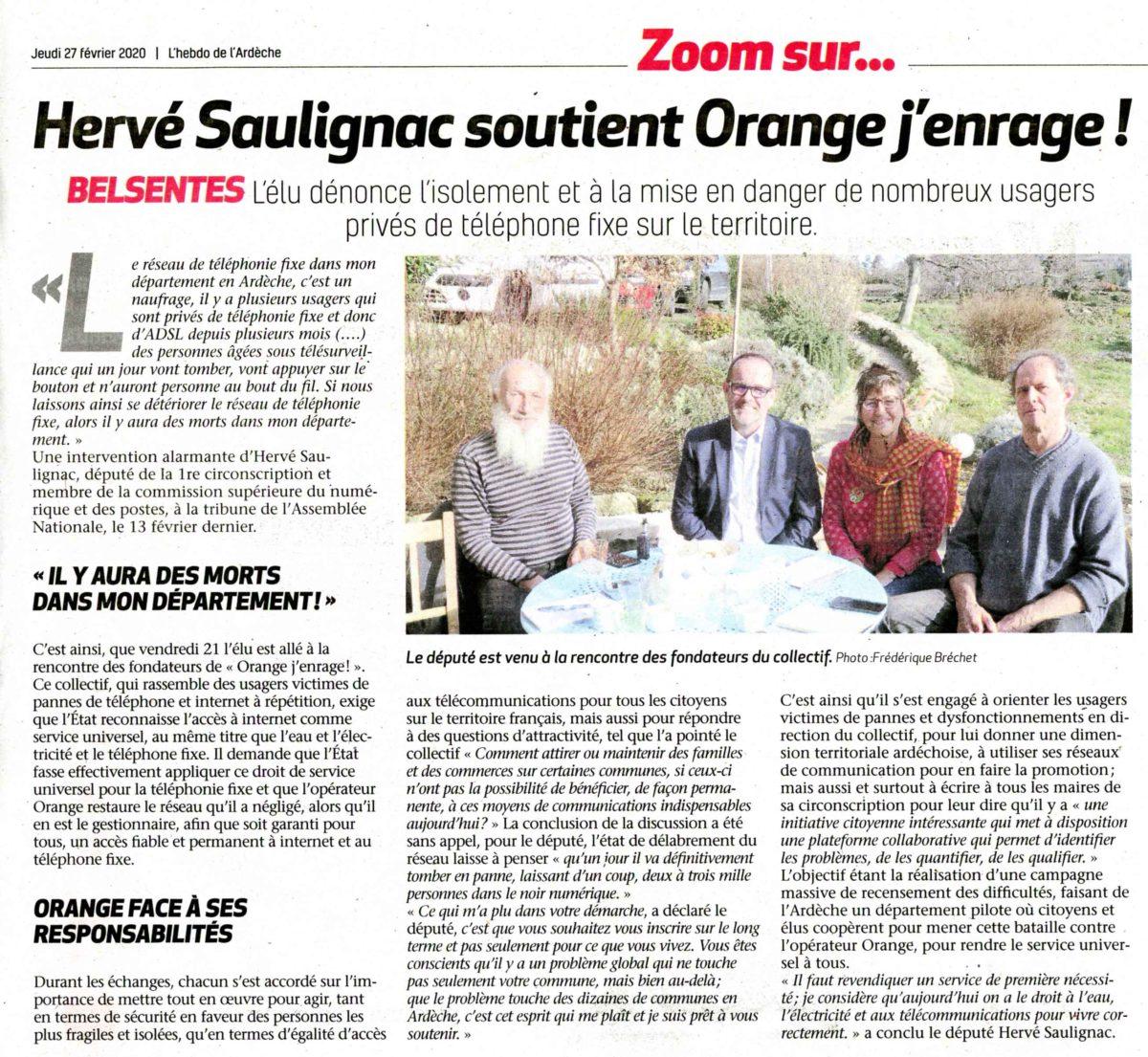 Hervé Saulignac, député de l'Ardèche soutient Orange j'enrage !