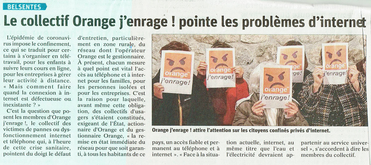 Orange j'enrage ! attire l'attention sur les citoyens confinés privés d'internet