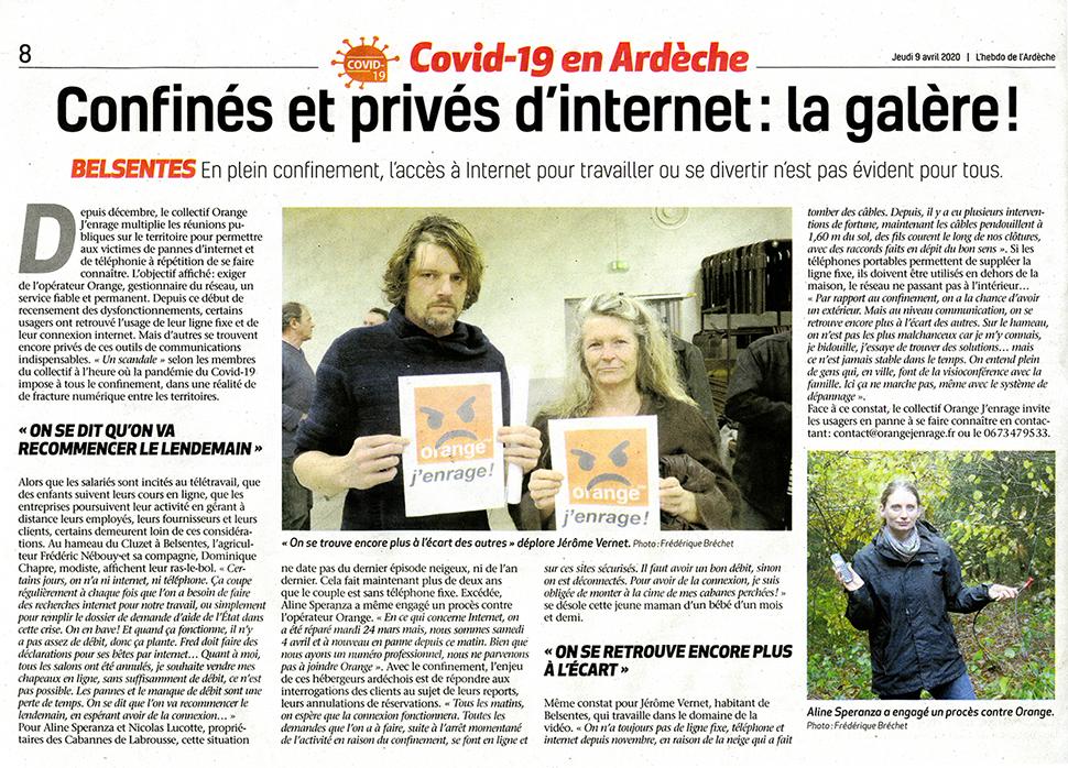 Confinés et privés d'internet, l'enquête de l'Hebdo de l'Ardèche