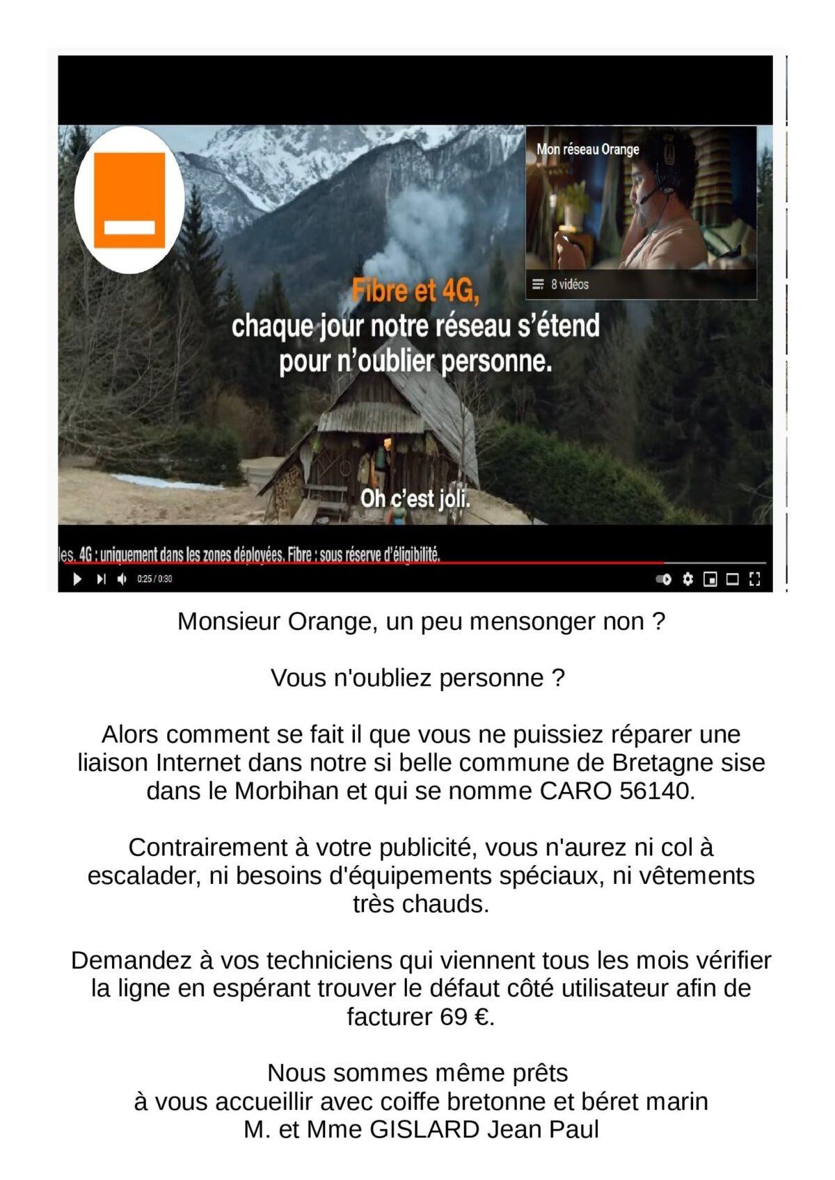 à Caro, Morbihan : chaque jour le réseau Orange s'étend pour n'oublier personne !