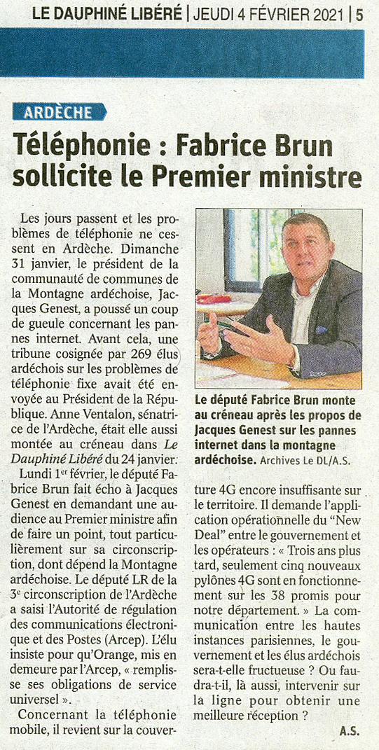 Téléphonie : Fabrice Brun député de l'Ardèche sollicite le Premier ministre