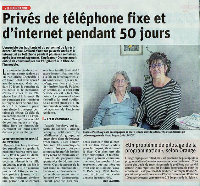 Une résidence pour personnes âgées privée de téléphone pendant 50 jours.
